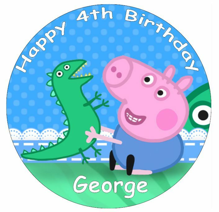 George Pig Peppa Pig Personalised Cake Topper 7.5