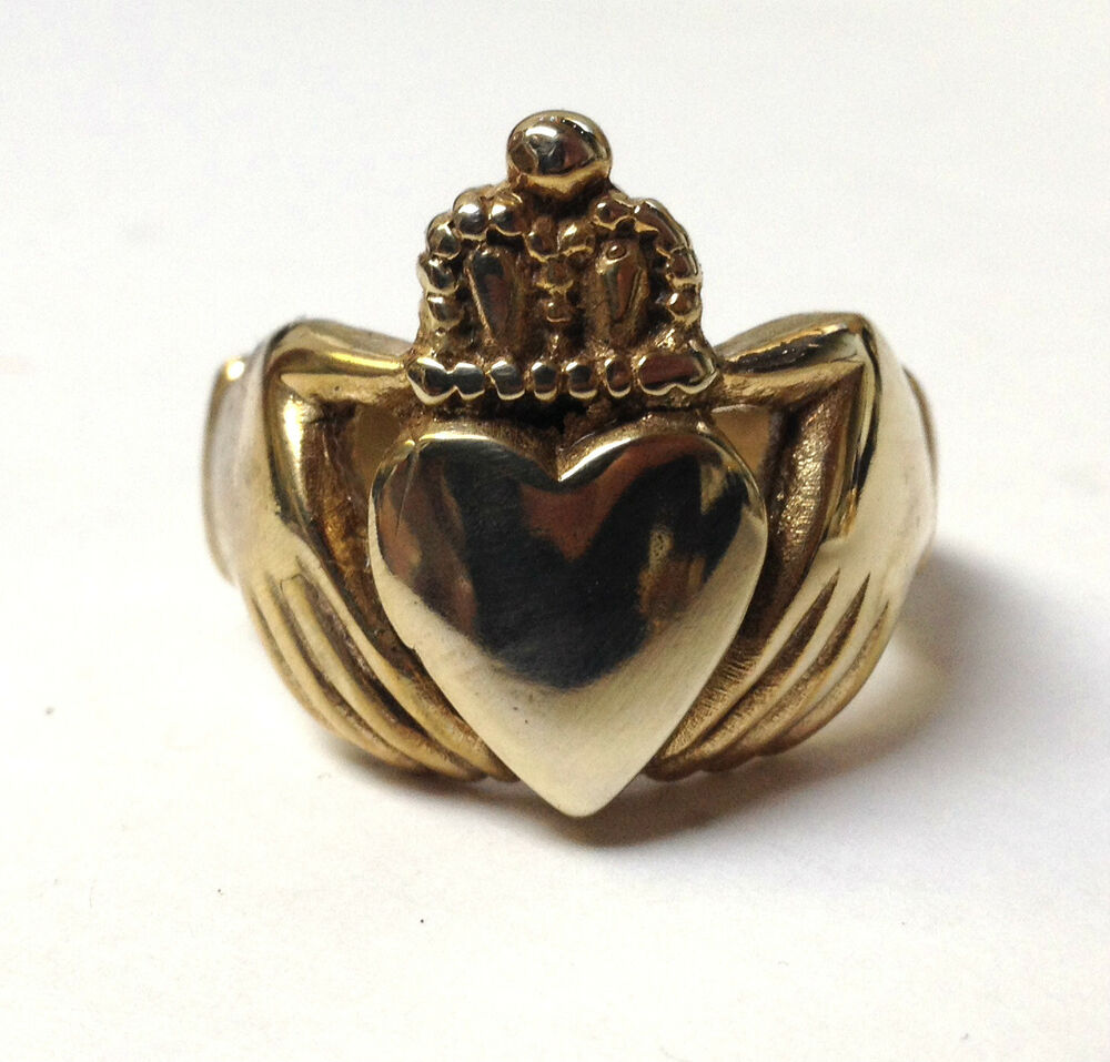 heavy solid mens claddagh ring quality 9ct gold on