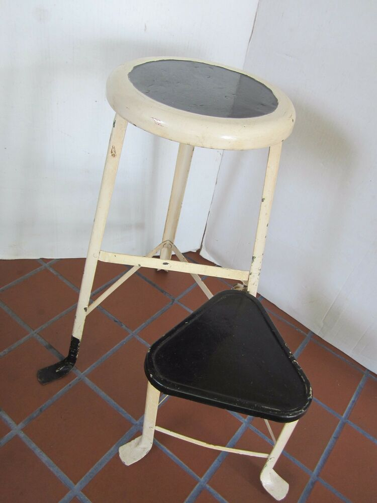 industrial age metal stool swivel step seat chair kitchen usa 1940s original vtg ebay. Black Bedroom Furniture Sets. Home Design Ideas