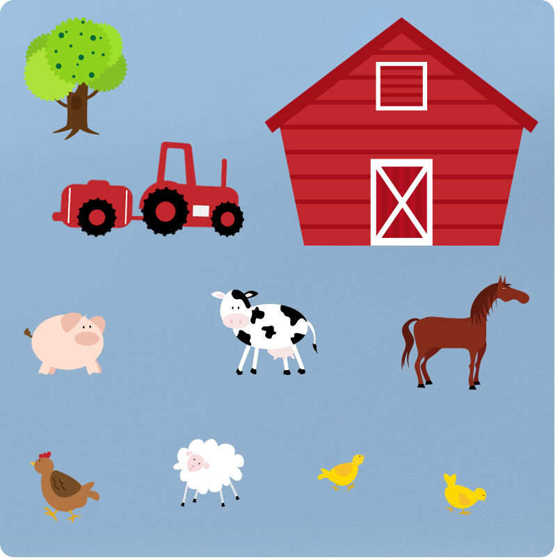 Kids Room Wall Decals Farm Wall Decals Farm Animal Decals: Childrens Farm Animals Nursery Bedroom Vinyl Wall Stickers