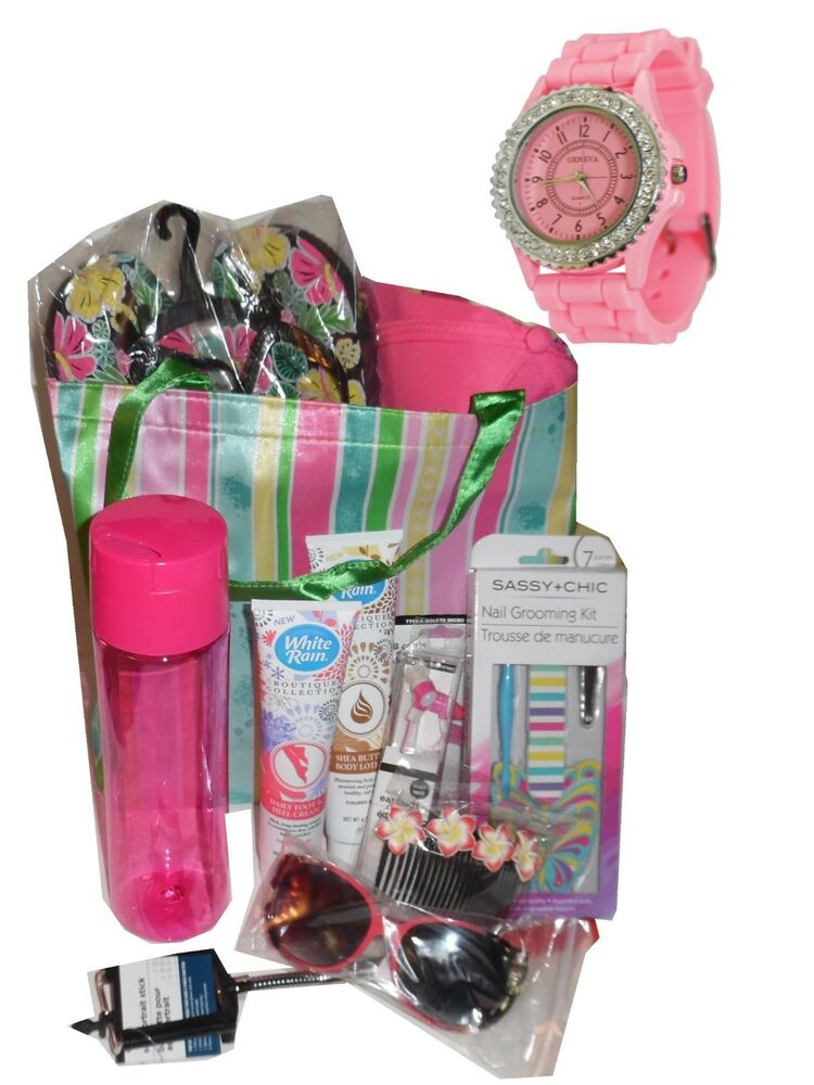 Mothers Day At The Beach Gift Basket Watch Tote Flip Flops Cap Mom Birthay Ebay