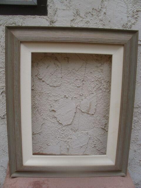 Large wood frame grey tone w off white linen fabric mat 19 for Fabric picture frames