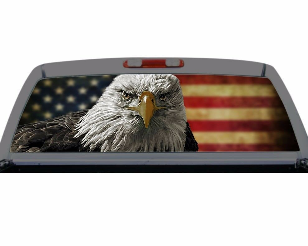 American eagle flag rear window graphic decal truck suv for Eagle windows