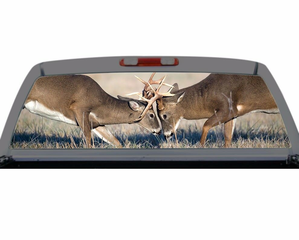 Deer Rut Buck Fighting Hunting Rack Rear Window Decal