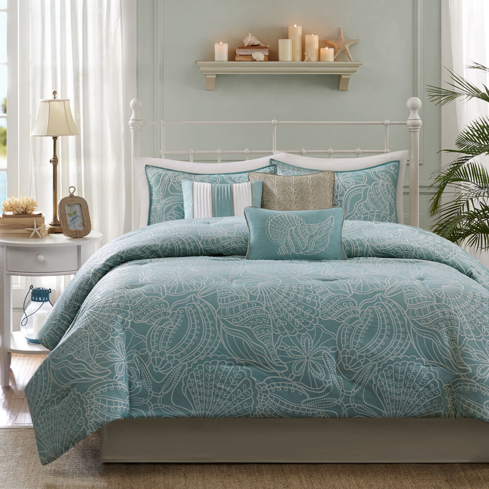 Nautical Bedding King: BEAUTIFUL REVERSIBLE BLUE GREY OCEAN BEACH COASTAL