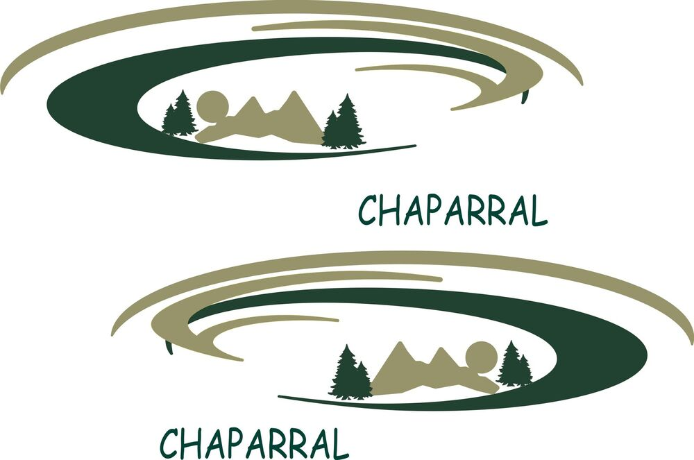 2 chaparral mountain scene rv decals graphics trailer for Decals for rv mural