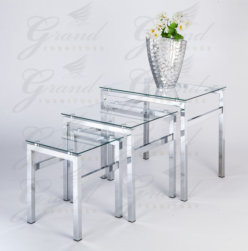 Elsa Range Clear Glass Nest Of Tables Coffee Side Coffee