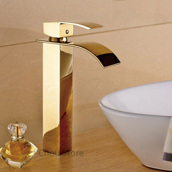 Gold brass single handle bathroom vessel sink faucet for Gold bathroom sink taps