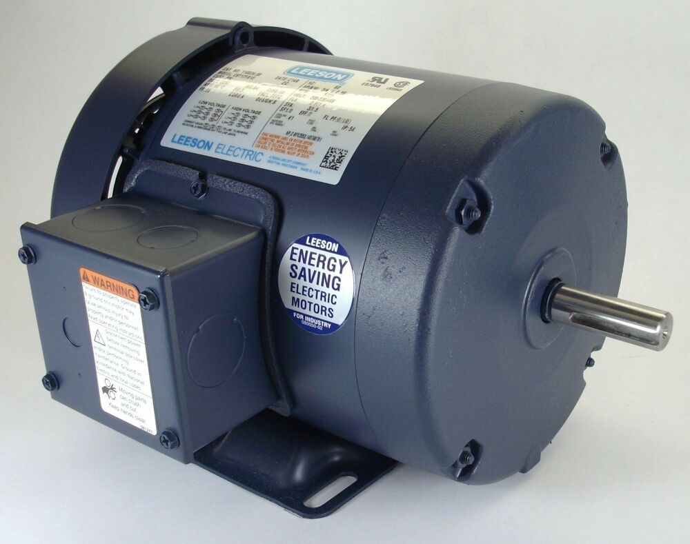 1 5hp 3ph 1725rpm 145t 230 460v Tefc Leeson Electric Motor