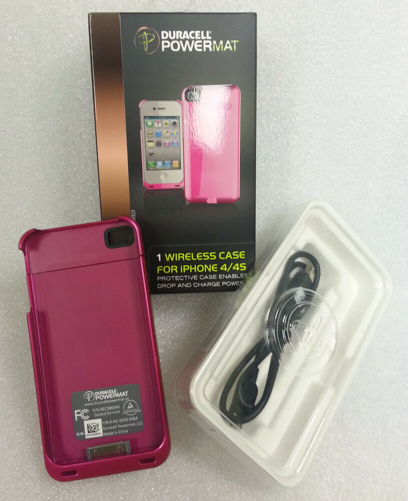duracell powermat wireless charging pink case for iphone 4 4s ebay. Black Bedroom Furniture Sets. Home Design Ideas