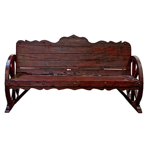 Rustic Wagon Wheel Bench Western Cabin Lodge Real Solid Wood Home Decor Ebay