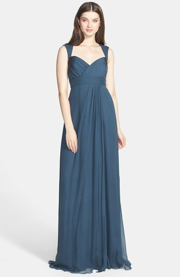 310 Amsale Crinkled Silk Chiffon Gown Bridesmaid Wedding