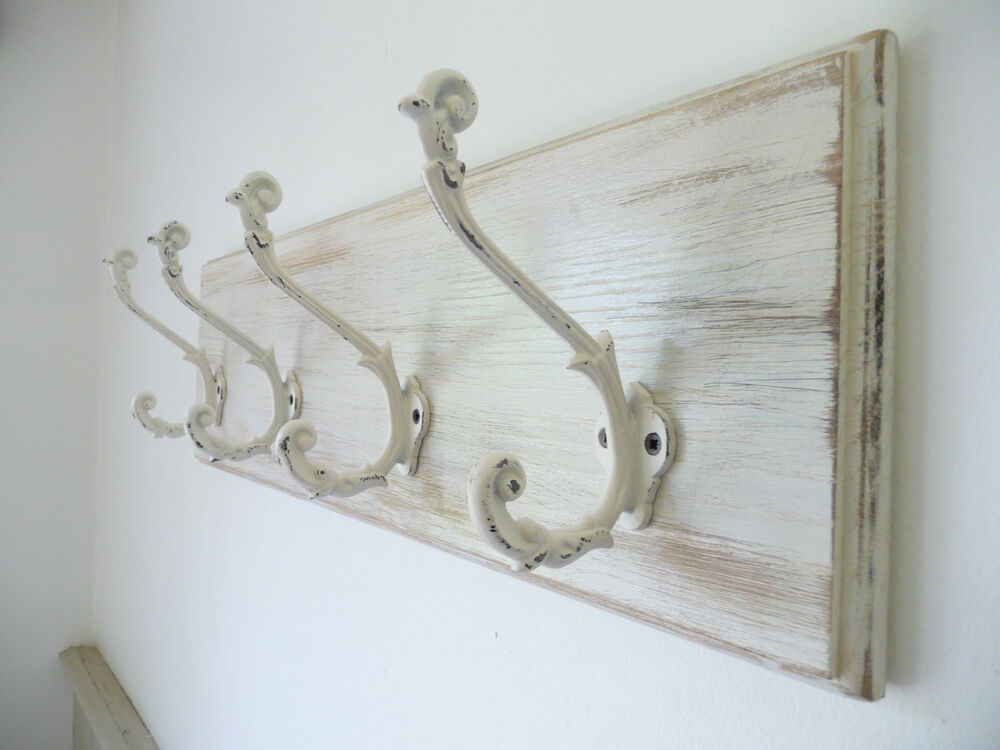 vintage style shabby chic romantic wooden oak coat rack antique white hooks ebay. Black Bedroom Furniture Sets. Home Design Ideas