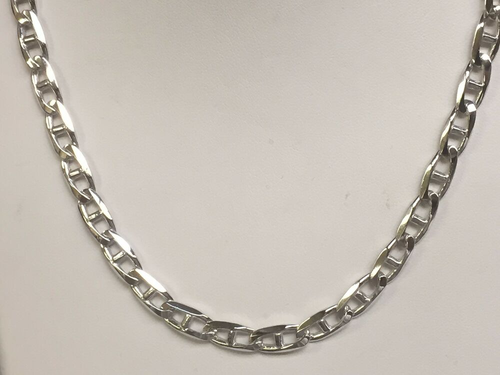 14k Solid WHITE Gold Anchor Mariner chain/necklace 6 MM 35 ...