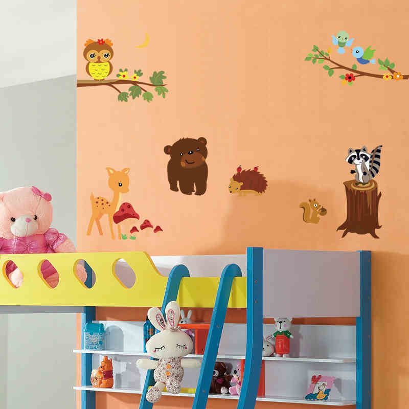 Woodland Animals Removable Wall Sticker Owl Birds Baby's ...
