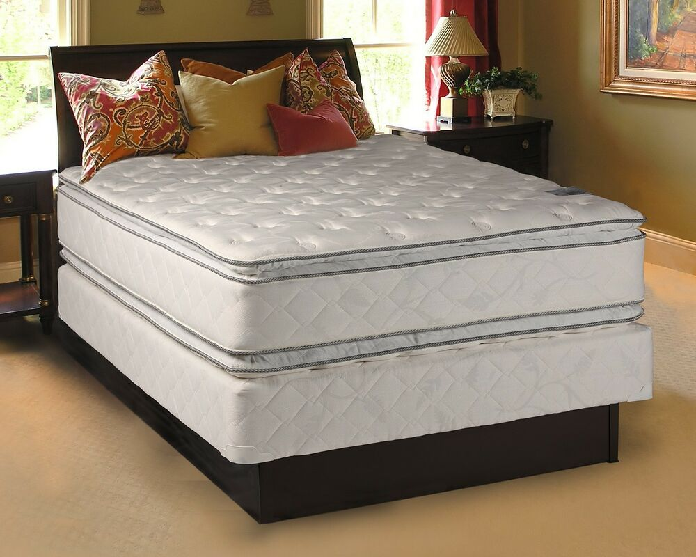 Princess plush queen size pillowtop mattress and box spring set ebay Queen size bed and mattress set