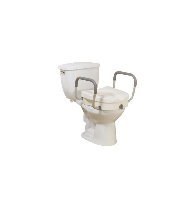 Elevated Raised Toilet Seat Riser With Arms 5 Inch White