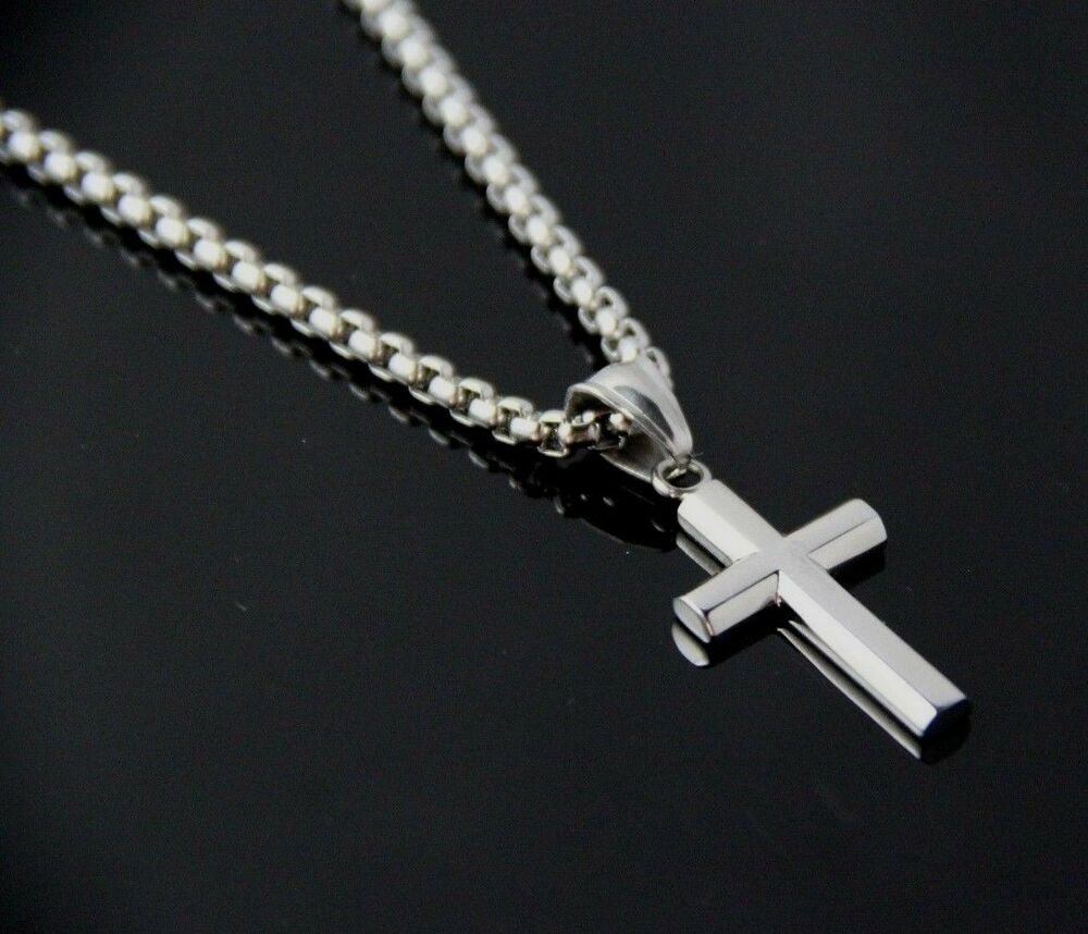 24 Quot Men Stainless Steel Silver Box Chain Necklace Small