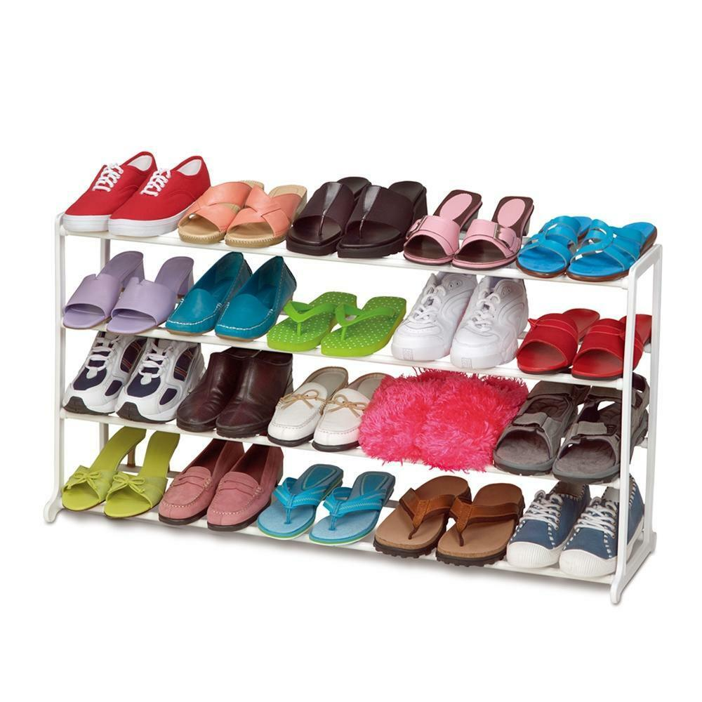 20pair 4 tier space saving storage organizer free standing shoe tower rack white ebay - Shoe storage small space pict ...