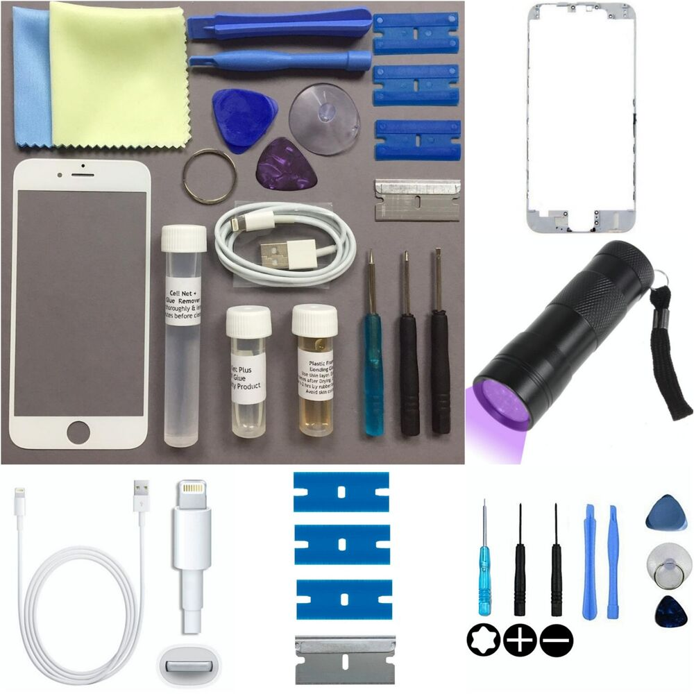 Apple iphone 6 4 7 replacement screen front glass replacement repair kit white ebay - Kit reparation iphone 6 ...