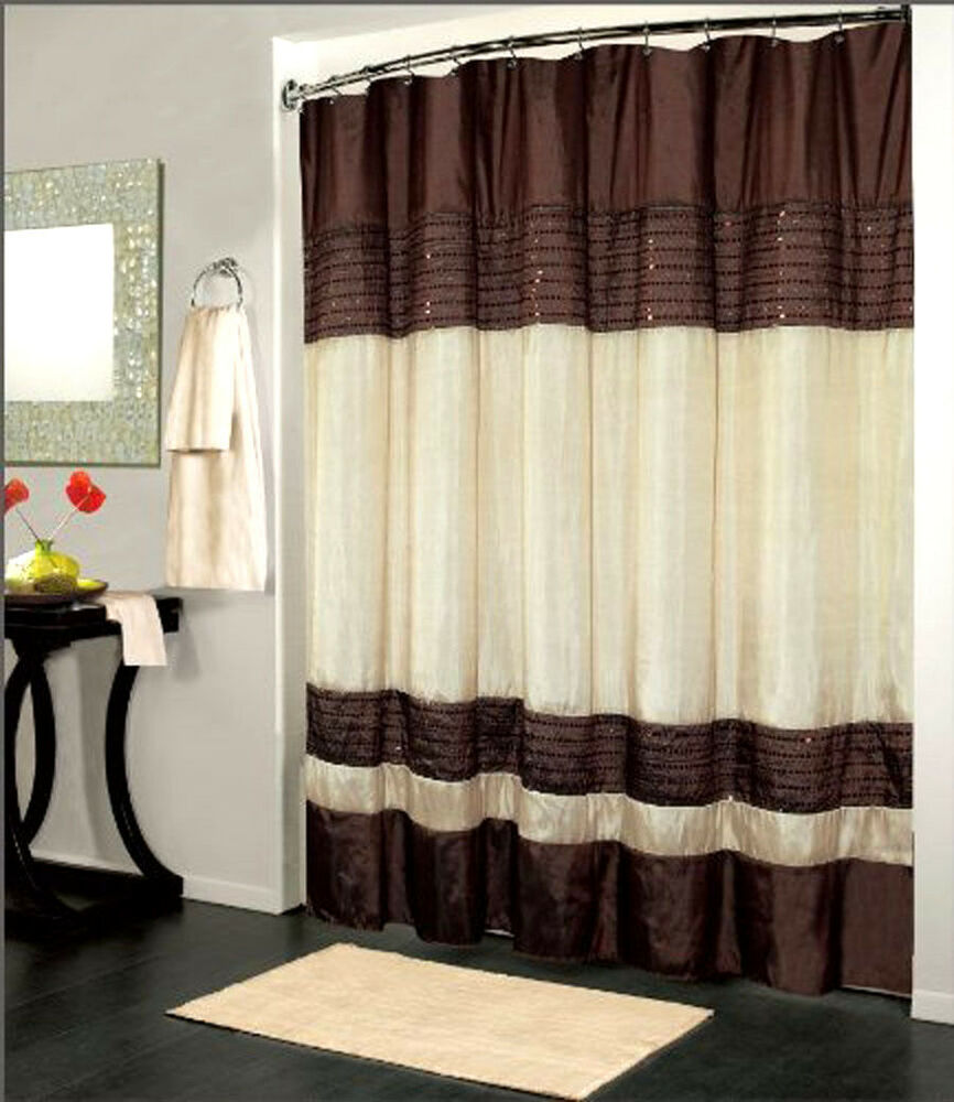 Luxury Fabric Shower Curtain Sequin Design Brown 70x72 Inch Bathroom Decor Gift Ebay