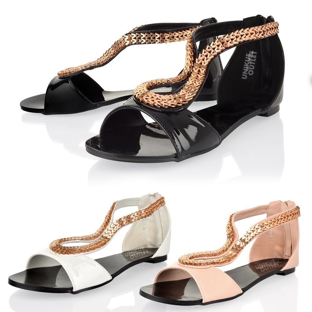 Womens Ladies Summer Open Toe Gladiator Flat Holiday Beach ...