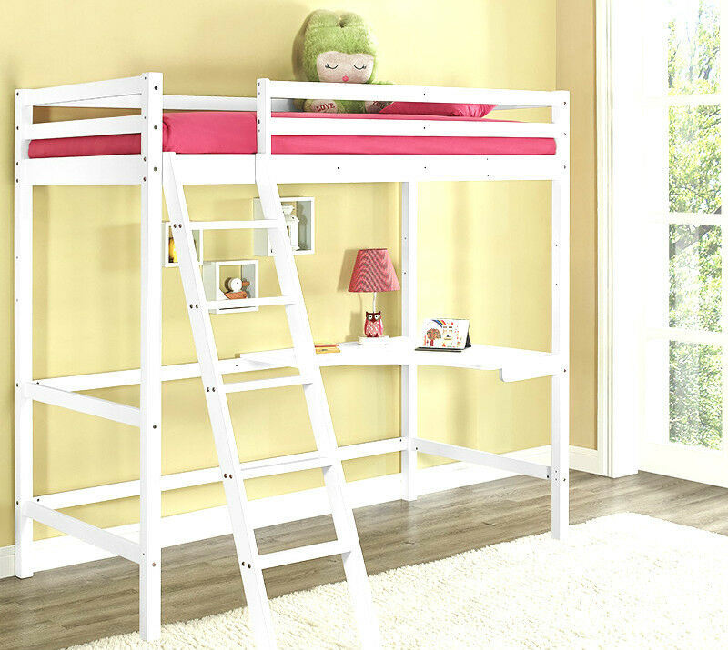 Kids High Sleeper Cabin Bed With Desk White Wooden Bunk