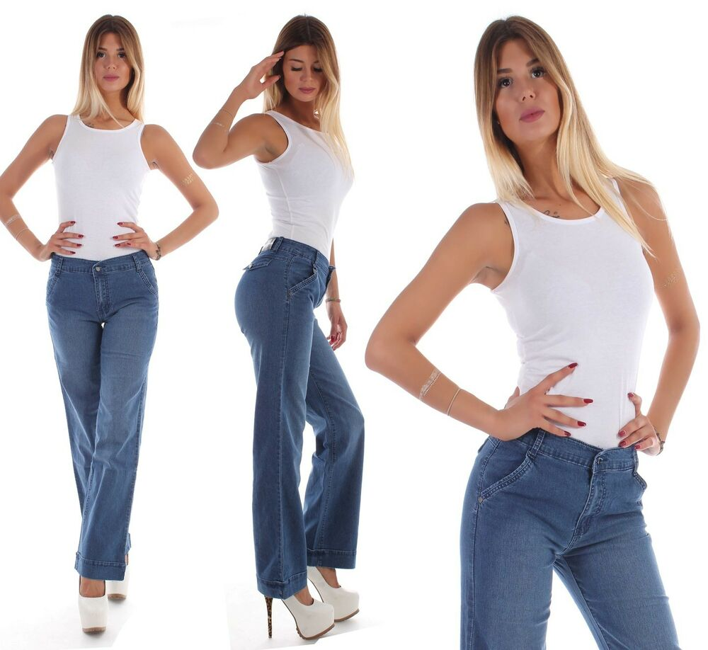 damen schlag bootcut jeans schlaghose marlene dunkelblau sexy edel hose d59 ebay. Black Bedroom Furniture Sets. Home Design Ideas