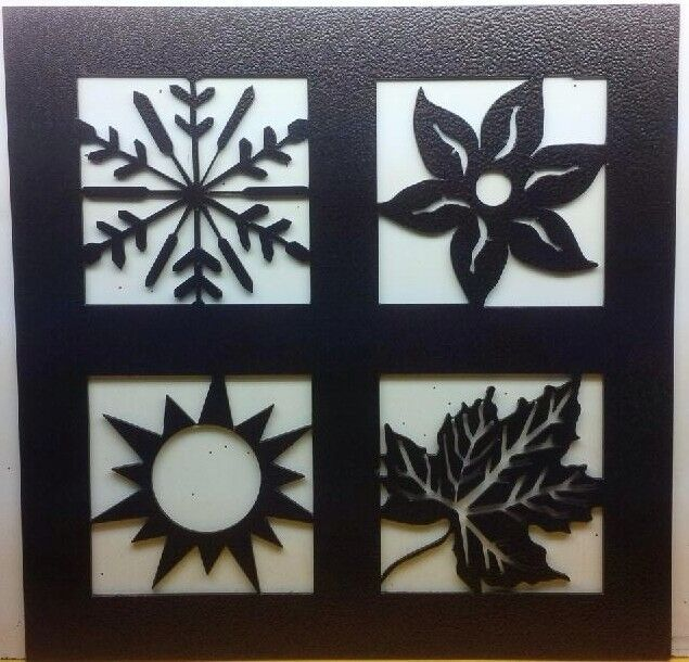 Summer Outdoor Wall Decor : Winter spring summer and fall metal wall hanging