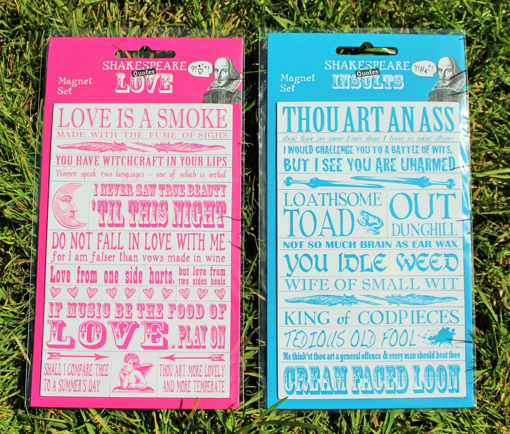 Set of Fridge Magnets with Shakespeare Quotations Insult or Love ...