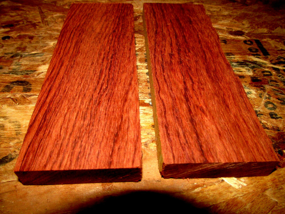 Two Exotic Sanded Bubinga Knife Scales Pistol Grips Wood