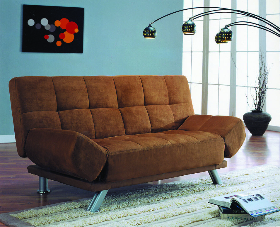 New Click Clack Futon Sofa Bed With Adjustable Arms In
