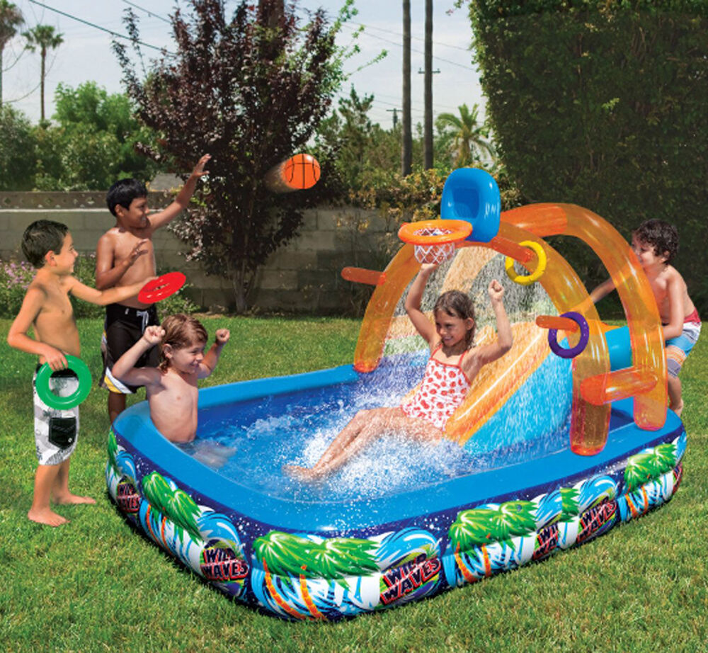 Cool Outdoor Toys : Inflatable water slide outdoor pool kids fun backyard play