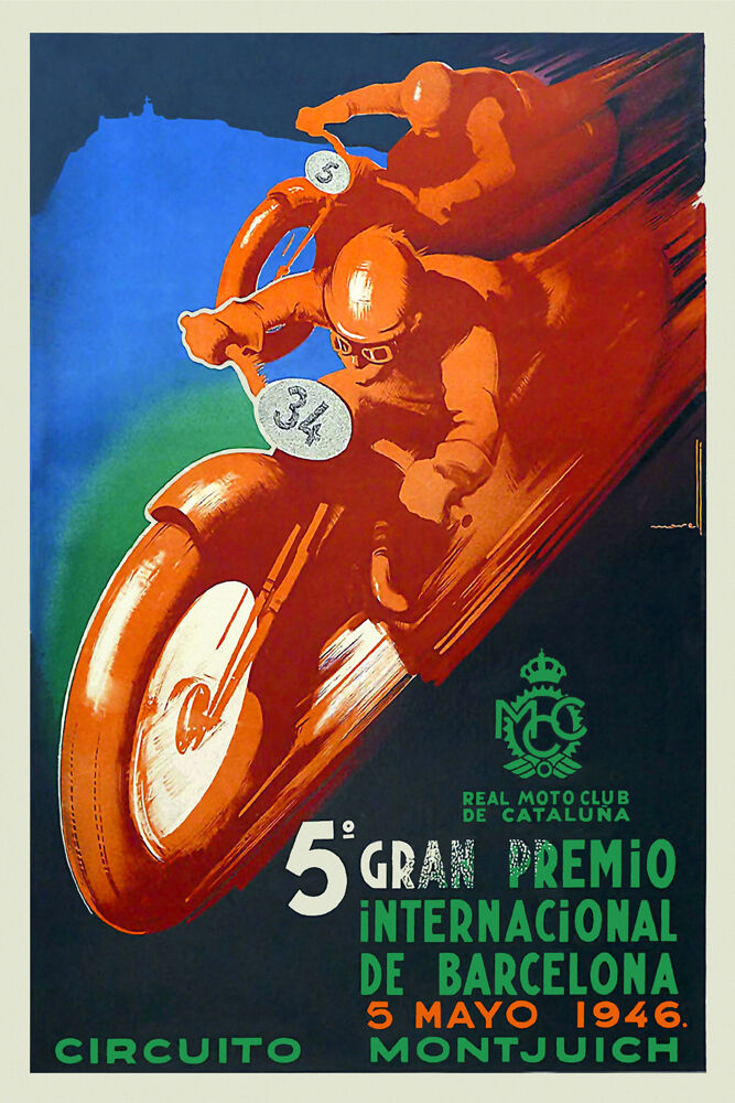 vintage 1940s motorcycle racing poster montjuic barcelona catalu a grand prix ebay. Black Bedroom Furniture Sets. Home Design Ideas