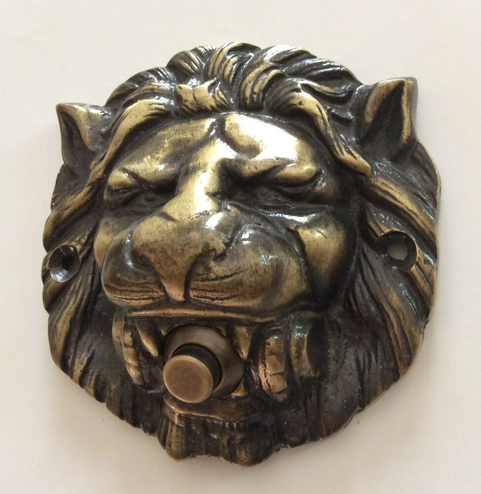 Large Solid Brass Lion Head Push Button Door Bell Lot Of