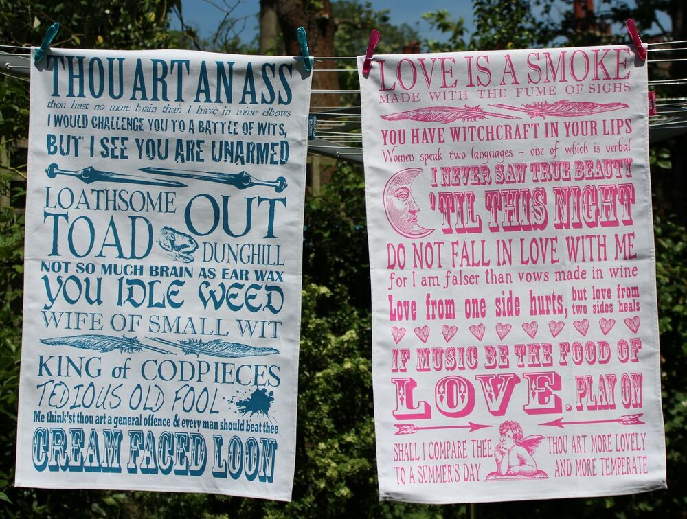 Lovely Shakespeare Quotes Cotton Tea Towels Love Or