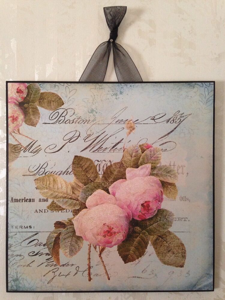 shabby roses wall decor sign plaque french country chic ebay. Black Bedroom Furniture Sets. Home Design Ideas