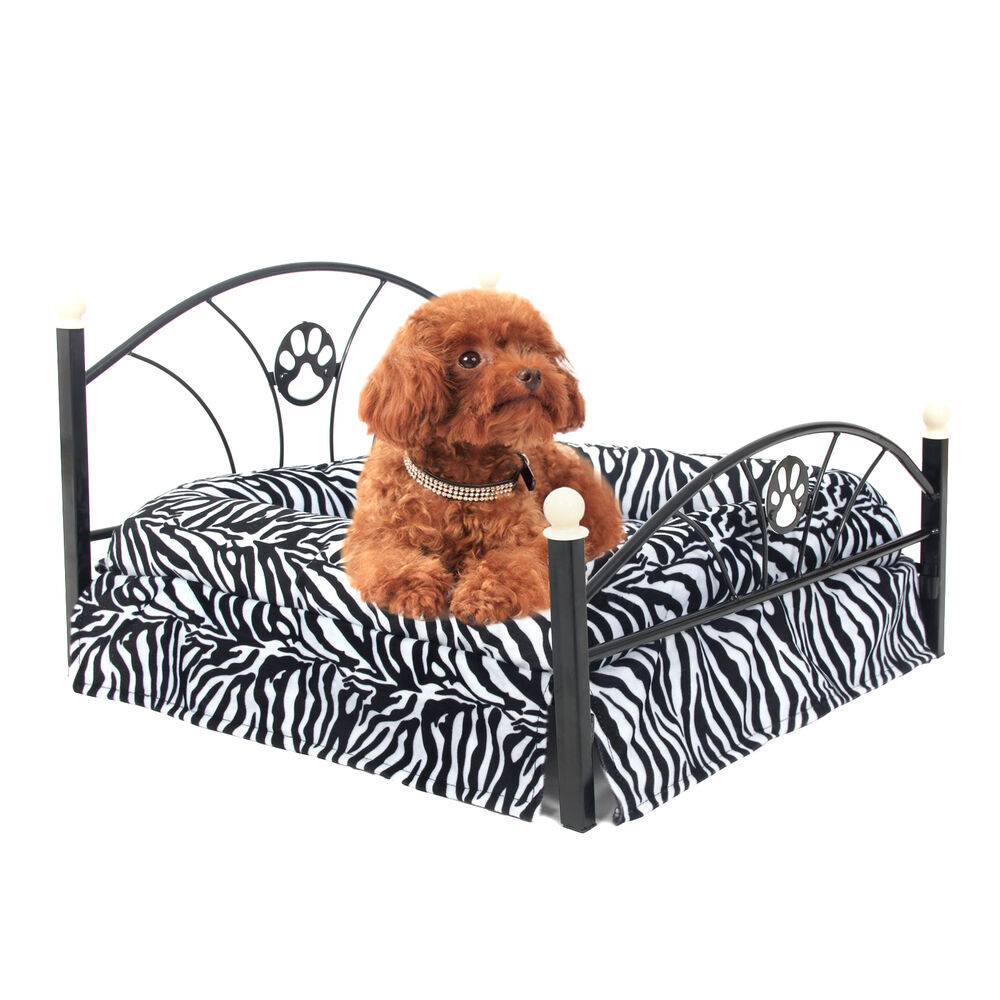 Pet dog beds strong upscale metal frame mattress included for Bed frame with dog kennel