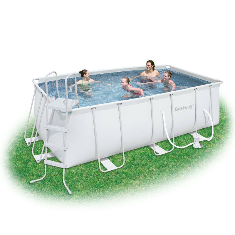 Bestway x 6ft6 x 48in rectangular steel pro frame swimming pool ebay - Steel frame pool ...