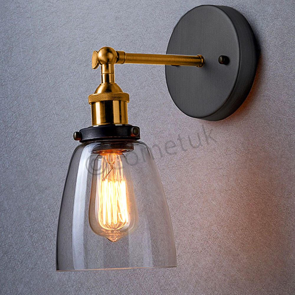 Metal Industrial Wall Lights : Decore Vintage Industrial Wall Lights Metal Rustic Sconce Glass Wall Light Lamps eBay