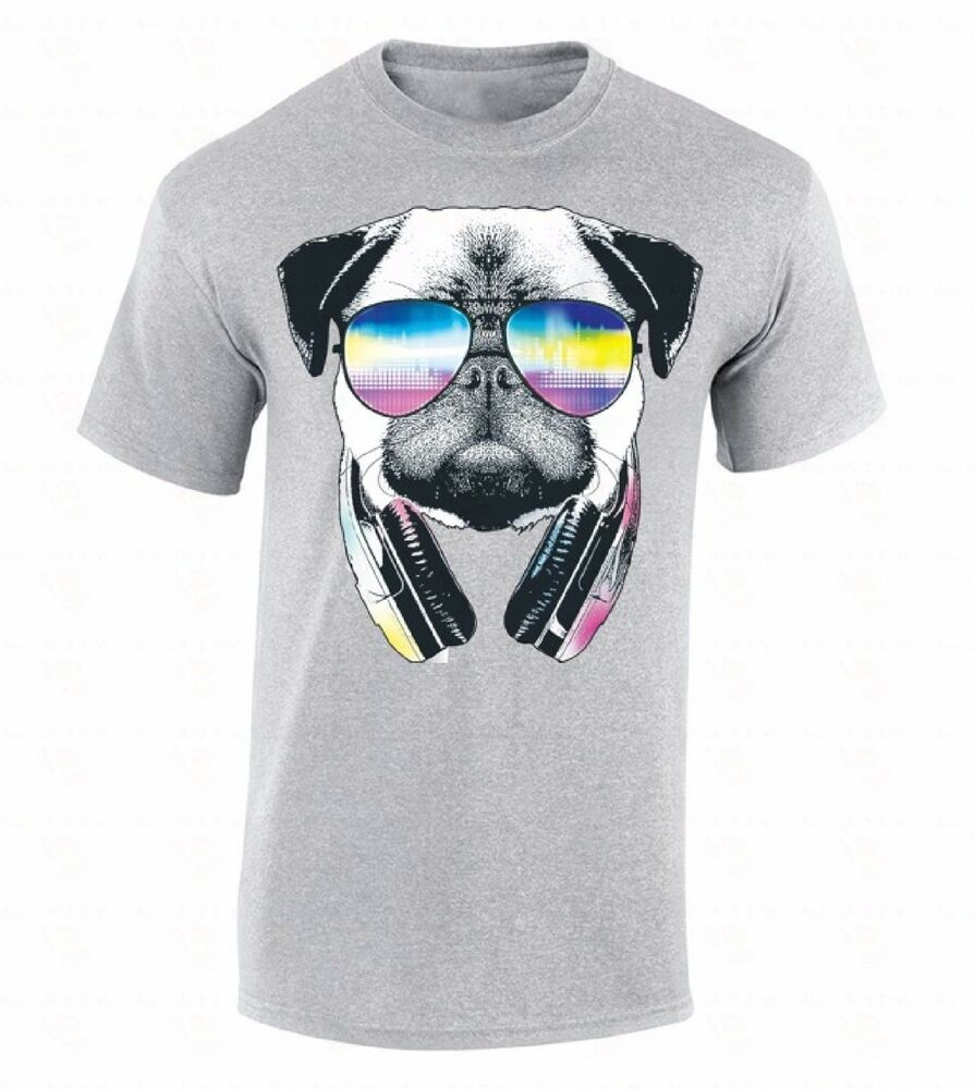 Pug sunglasses headphones t shirt animal head dog face for Dog t shirt for after surgery