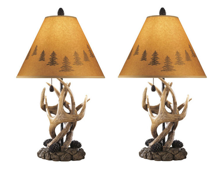 antler table lamps pair of 2 w shades deer antlers lamp lodge rustic