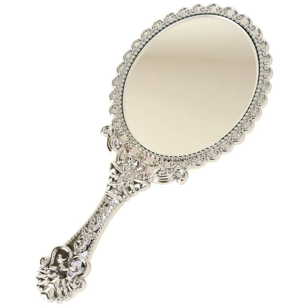 Cute princess girls gift vintage style mini vanity hand for Small silver mirror