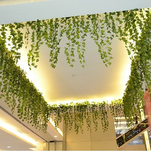 Green artificial hanging ivy leaf plants vine for Artificial leaves for decoration