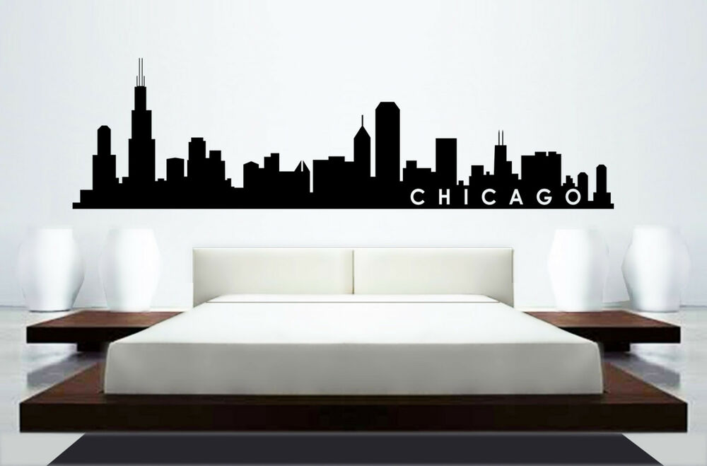 65 chicago skyline wall decal in black ebay for Chicago skyline mural wallpaper