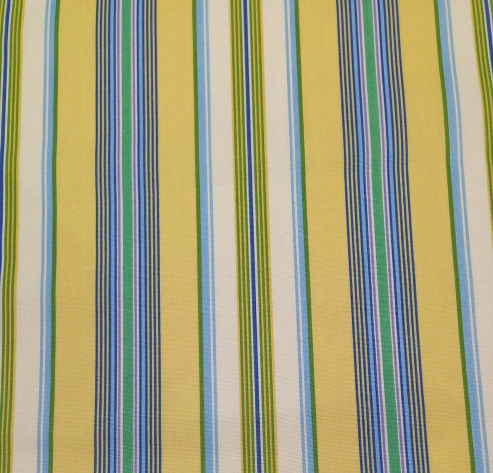 Mill creek gama stripe yellow blue outdoor cushion for Outdoor fabric by the yard