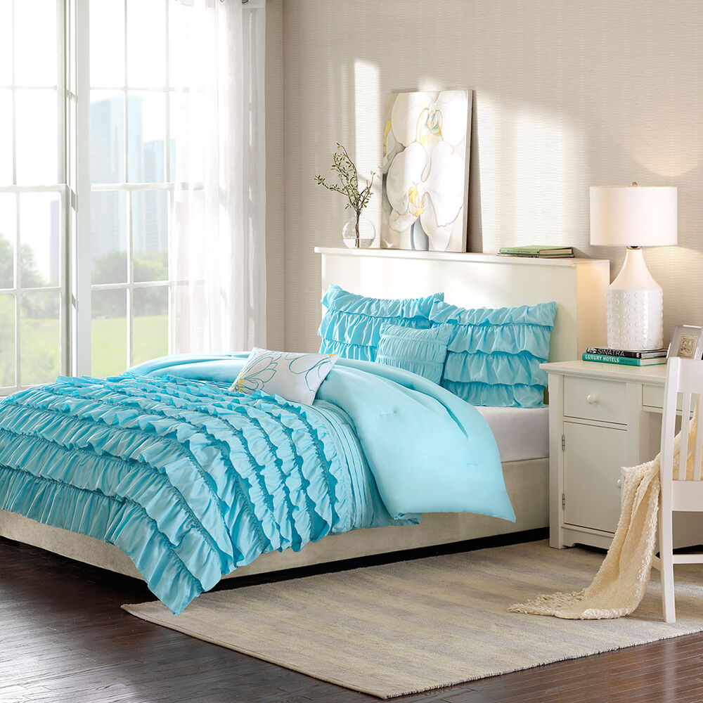Teal Blue Bedroom: BEAUTIFUL MODERN BLUE LIGHT AQUA WHITE TEXTURED RUFFLED