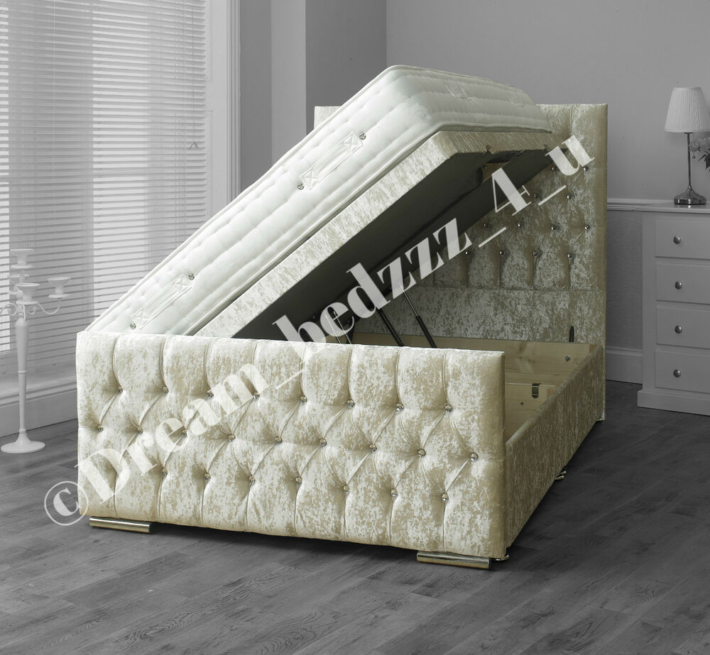 Crushed velvet storage ottoman divan bed upholstered for Divan upholstered bed
