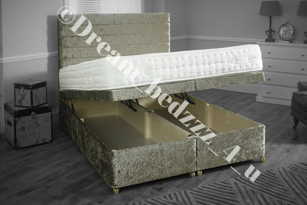 Crushed velvet solid storage ottoman divan bed base end for Velvet divan bed frame