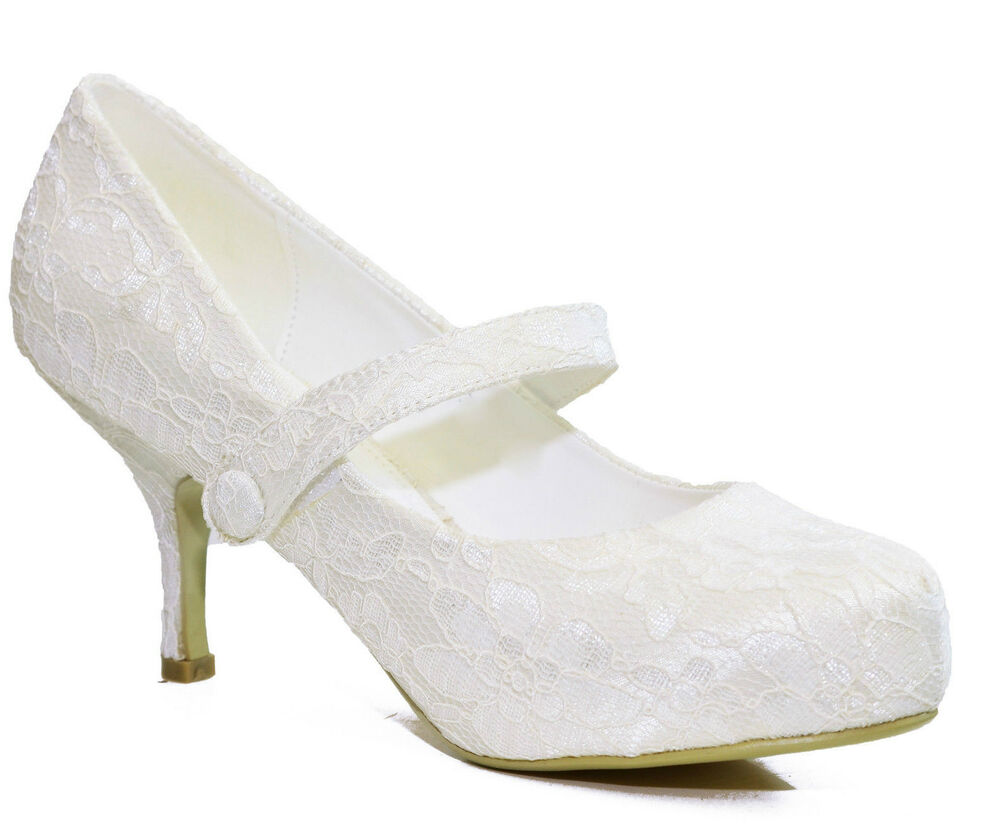 new ivory lace wedding bridal mid heel platform court